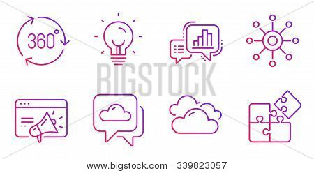 Energy, Weather Forecast And 360 Degree Line Icons Set. Graph Chart, Seo Marketing And Cloudy Weathe