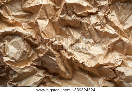 Crumpled Craft Paper Background. Cream Paper Texture. Abstract Texture Stock Photo Background. Old C