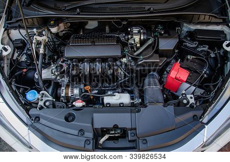 Top View Of The Car Engine, Car Maintenance Service
