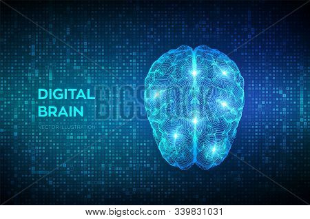Brain. Digital Brain On Streaming Matrix Digital Binary Code Background. 3d Science And Technology C