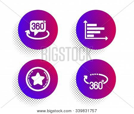 Loyalty Star, Horizontal Chart And 360 Degree Icons Simple Set. Halftone Dots Button. 360 Degrees Si