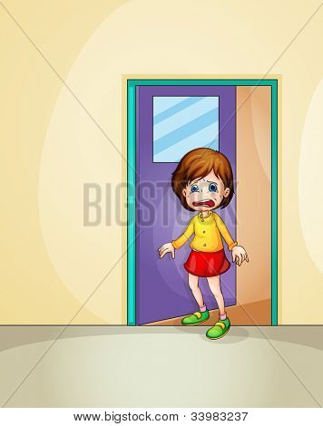 Illustration of girl crying at home -