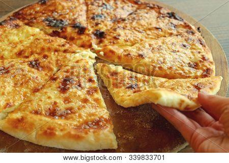 Mouthwatering Fresh Baked Cheese-filled Georgian Flatbread Called Khachapuri Imeruli (imeretian)
