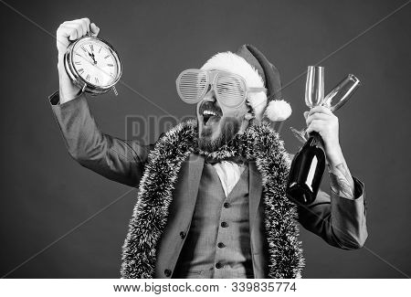 Corporate Christmas Party. Lets Celebrate Winter Holiday. Boss Santa Hat Celebrate New Year Or Chris