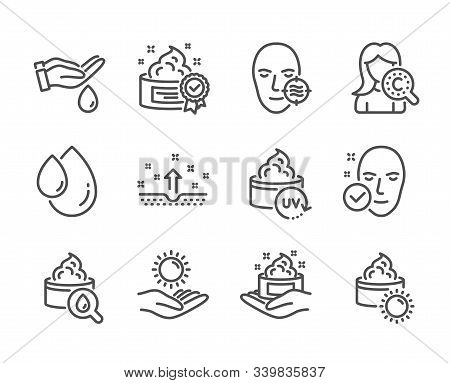 Set Of Beauty Icons, Such As Problem Skin, Health Skin, Sun Protection, Wash Hands, Sun Cream, Oil D