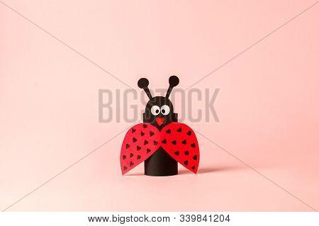 Paper Ladybug For Valentine, Birthday, Baby Shower, Daycare Party. Easy Craft For Kids On Blue Backg