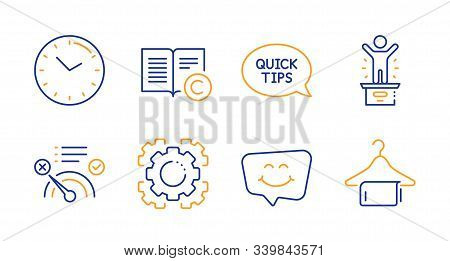 Winner Podium, No Internet And Seo Gear Line Icons Set. Smile Chat, Copyright And Time Signs. Quicks