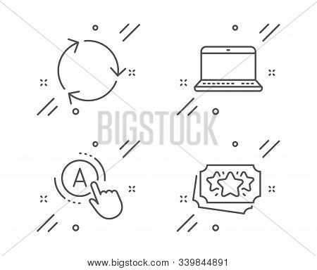 Ab Testing, Notebook And Recycling Line Icons Set. Loyalty Points Sign. A Test, Laptop Computer, Red