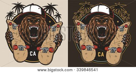 Vintage Skateboarding Colorful Emblem With Ferocious Bear In Baseball Cap Holding Skateboards Isolat