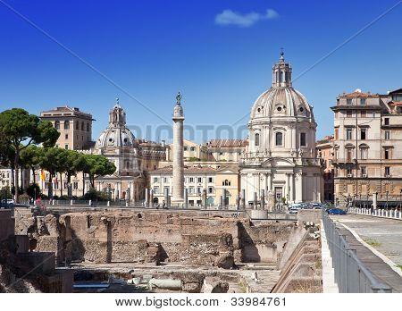 Italy. Rome. Trojan column churches of Santa Maria di Loreto and ruins of a forum of Trajan