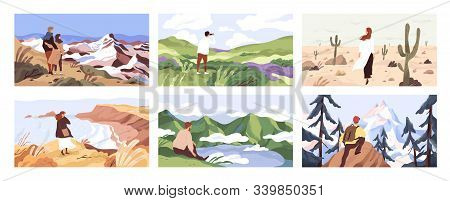 Travelers Enjoying Scenic View Flat Vector Illustrations Set. Young People On Adventure Cartoon Char