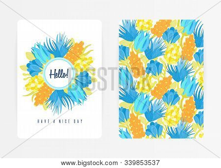 Cover Design With Floral Pattern And Round Frame. Hand Drawn Textured Flowers. Colorful Artistic Bac