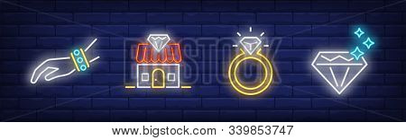 Jewel Shop Neon Sign Set. Bracelet, Store, Ring, Diamond. Vector Illustration In Neon Style, Bright