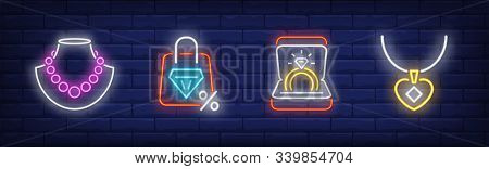 Jewelry Neon Sign Set. Necklace, Ring, Pendant. Vector Illustration In Neon Style, Bright Banner For