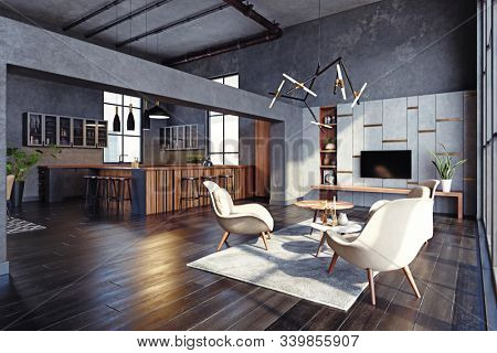 modern living interior design concept. 3d rendering idea.
