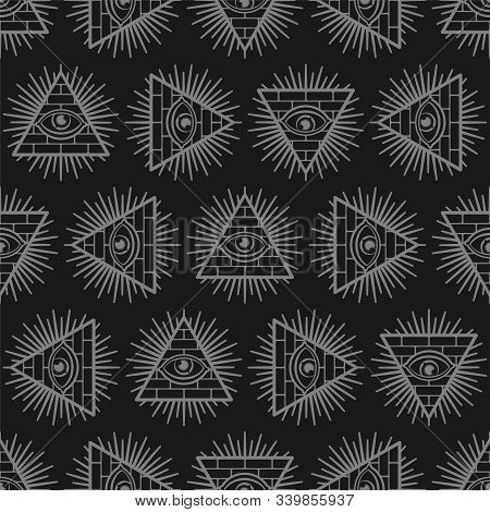 All-seeing Eye Background. Pyramid With An Eye Pattern Seamless. Symbol Of World Government. Illumin