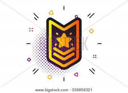 Star Award Sign. Halftone Circles Pattern. Shoulder Strap Stars Icon. Best Rank Symbol. Classic Flat