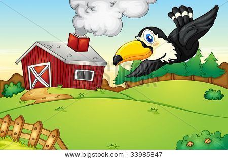 Illustration of a bird flying over a farm - EPS VECTOR format also available in my portfolio.