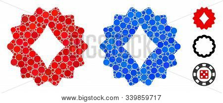 Diamonds Token Mosaic Of Small Circles In Variable Sizes And Color Tones, Based On Diamonds Token Ic