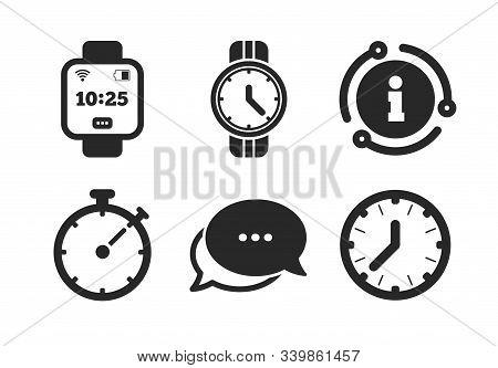 Mechanical Clock Time, Stopwatch Timer Symbols. Chat, Info Sign. Smart Watch Icons. Wrist Digital Wa