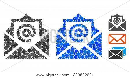 Email Composition Of Filled Circles In Different Sizes And Color Hues, Based On Email Icon. Vector F