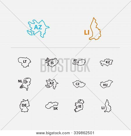 Europe Map Icons Set. Germany And Europe Map Icons With Ireland, Lithuania, Czech Republic. Set Of O