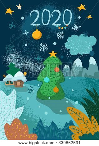 New Year Vertical Postcard With Fir Tree, Village And Mountains. 2020 Greeting Card. Winter Landscap