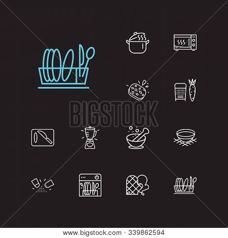 Kitchenware Icons Set. Grater And Kitchenware Icons With Sponge, Pot And Bowl. Set Of Cutlery For We