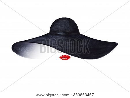 Beautiful Woman With Red Lips And Elegant Black Hat Isolated On White Background. Watercolor Hand Dr