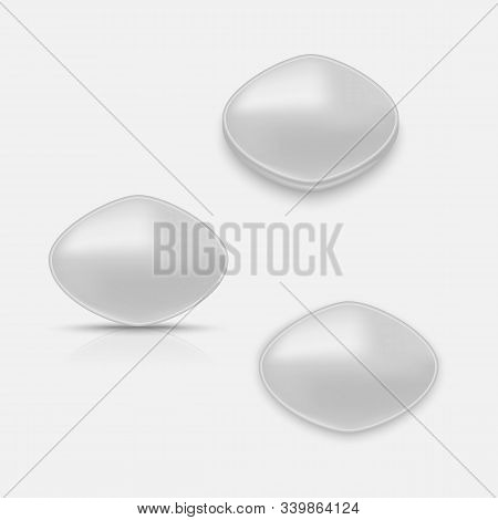 Active Gray Pill For Erection. Vector Illustration With Shadow And Reflection.