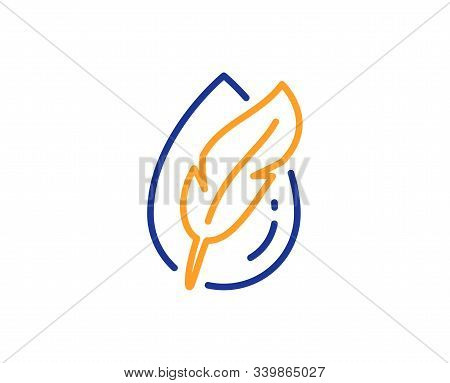 Feather Sign. Hypoallergenic Tested Line Icon. No Synthetic Symbol. Colorful Outline Concept. Blue A