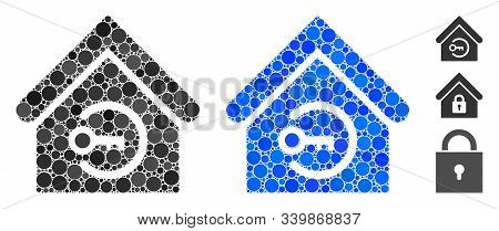 Home Login Mosaic Of Round Dots In Various Sizes And Color Hues, Based On Home Login Icon. Vector Ro