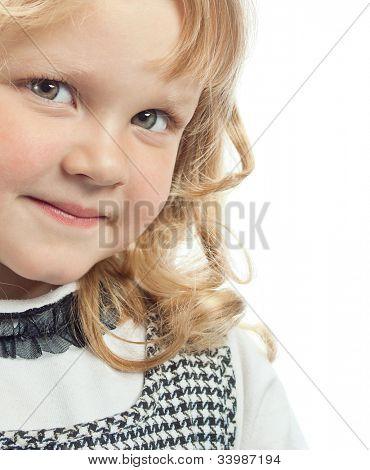 little child girl smiling isolated on white background studio shot