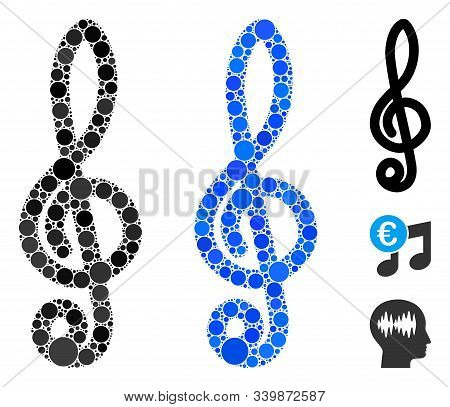 Musical Notation Mosaic Of Round Dots In Variable Sizes And Color Tints, Based On Musical Notation I