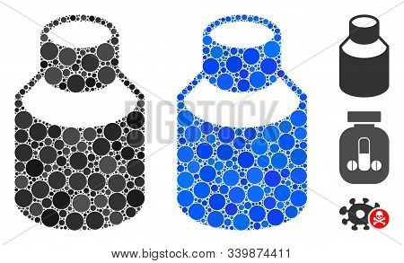 Phial Composition Of Round Dots In Different Sizes And Color Hues, Based On Phial Icon. Vector Round