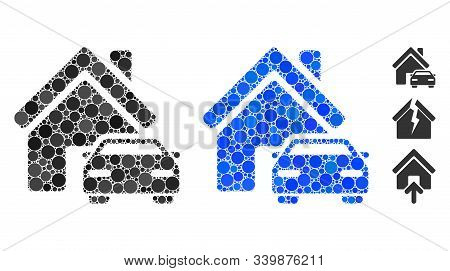 Property Composition Of Filled Circles In Various Sizes And Color Hues, Based On Property Icon. Vect