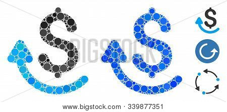 Repay Mosaic Of Spheric Dots In Various Sizes And Color Tints, Based On Repay Icon. Vector Round Dot