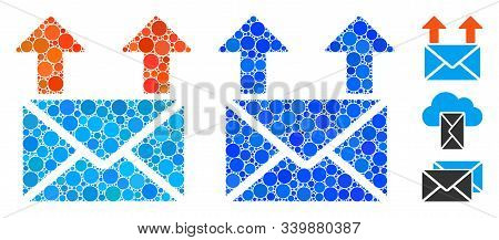Send Mail Mosaic Of Small Circles In Different Sizes And Color Tinges, Based On Send Mail Icon. Vect