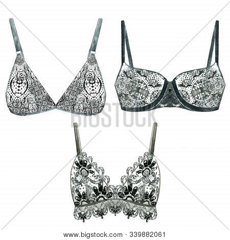 Watercolor Collection Of Black Bras. Hand Drawn Lacy Underware Isolated On White. Illustration Of Wo