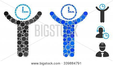 Time Manager Mosaic Of Round Dots In Various Sizes And Shades, Based On Time Manager Icon. Vector Ro