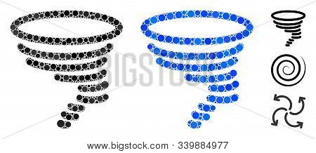 Tornado Mosaic Of Round Dots In Different Sizes And Color Tints, Based On Tornado Icon. Vector Round