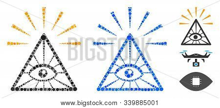 Total Control Eye Pyramid Composition Of Spheric Dots In Various Sizes And Color Tones, Based On Tot