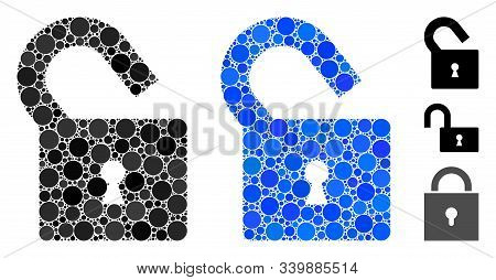 Unlock Mosaic Of Filled Circles In Various Sizes And Color Hues, Based On Unlock Icon. Vector Filled