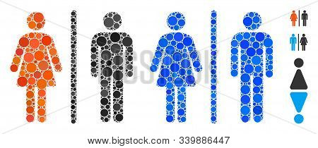 Wc Composition Of Small Circles In Different Sizes And Color Hues, Based On Wc Icon. Vector Small Ci