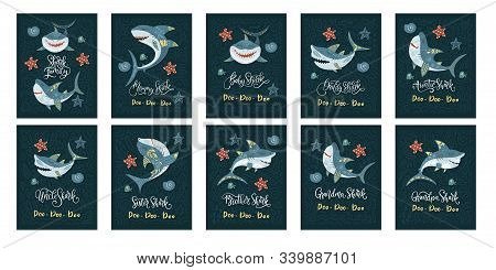 Shark Animal Vector Card Set In A Flat And Doodle Style With Funny Lettering Text Quote - Baby, Momm