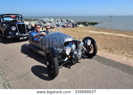 Felixstowe, Suffolk, England -  May 06, 2018: Classic Silver Morgan 3 Wheeled Motor Car Being Driven