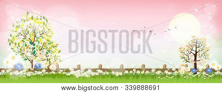 Vector Summer Nature With Cute Tiny Daisy Flowers And Green Grass Fields On Pink Background. Spring