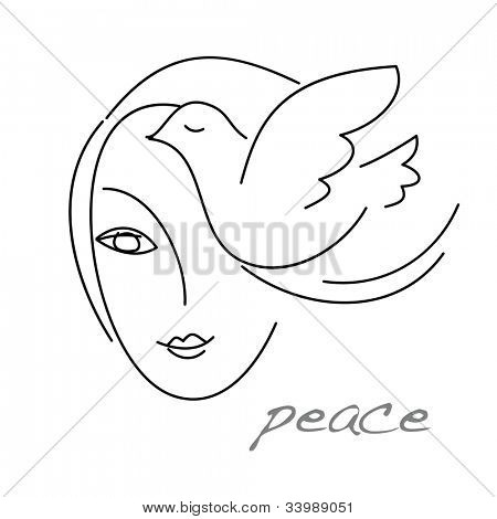 The sign - emblem of peace. A girl and a dove. Vector illustration