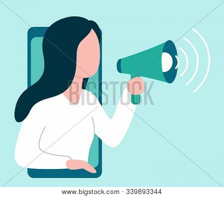 Abstract Woman From Smartphone Holds Speaker And Says, Calls, Invites, Notifies. Girl Is Barker, Blo