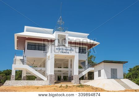 Ko Phayam, Thailand - February 19, 2019: Tsunami evacuation tower structure shelter on Ko Phayam island